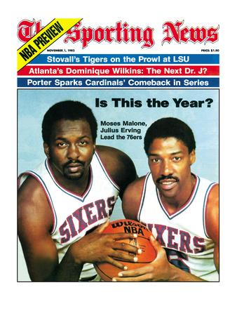 Philadelphia 76ers Moses Malone and Julius Erving - November 1, 1982 Foto