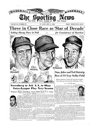 Ted Williams, Stan Musial and Joe DiMaggio - July 4, 1956 Foto