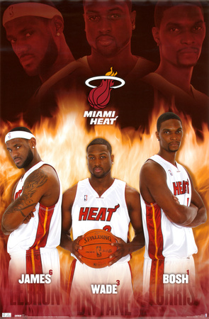 Miami Heat LeBron James Dwyane Wade Chris Bosh Sports Poster Print poster