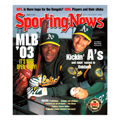 Oakland A's Miguel Tejada and Barry Zito - March 31, 2003 Photo