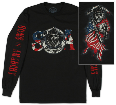 Long Sleeve: Sons of Anarchy - Reaper & Flag T-Shirt