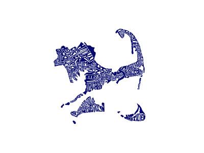 Typographic Cape Cod Navy Premium Giclee Print by  CAPow