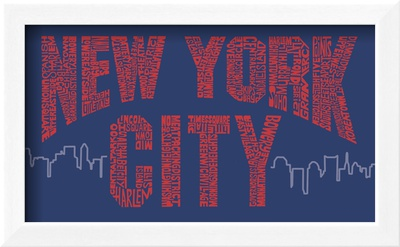 New York City Boroughs (red on blue) Framed Art Print