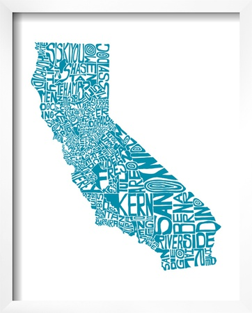 Typographic California Teal Posters by  CAPow