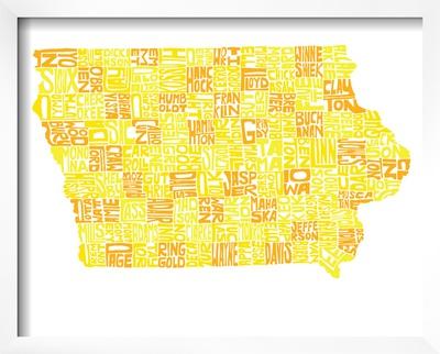 Typographic Iowa Yellow Orange Prints by  CAPow