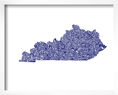 Typographic Kentucky Navy Print by  CAPow