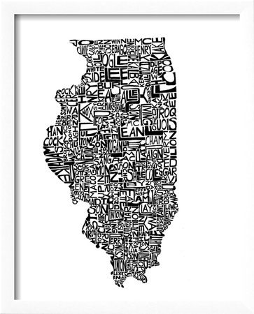 Typographic Illinois Framed Art Print