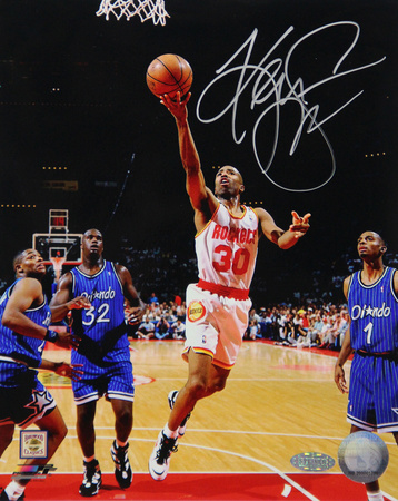 Kenny Smith Lay Up Rockets White Jersey Vertical Photo Photo