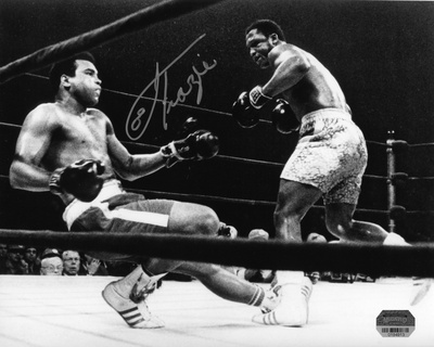 Joe Frazier Knocking down Muhammad Ali hand-signed photo print poster black and white