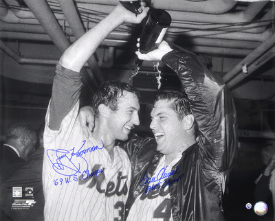 Tom Seaver & Jerry Koosman New York Mets  Champagne with Inscription