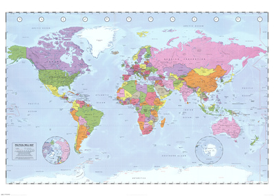 World Map (Political, Time Zones) Posters