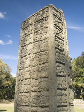 Stela A Dating From 731 AD, Copan Archaeological Park, UNESCO World Heritage Site, Honduras Photographic Print by Richard Maschmeyer