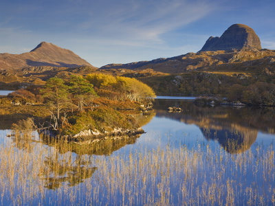 Two Mountains of Suilven and Canisp From Loch Druim Suardalain, Sutherland, North West Scotland Photographic Print by Neale Clarke