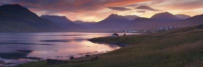 Sunset on Reydarfjordur Town, in the East Fjords Region (Austurland), Iceland, Polar Regions Photographic Print by Patrick Dieudonne
