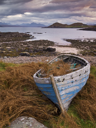 Sunset, Old Blue Fishing Boat, Inverasdale, Loch Ewe, Wester Ross, North West Scotland Photographic Print by Neale Clarke