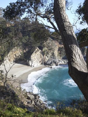 Waterfall and Beach at Julia Pfeiffer Burns State Park, Near Big Sur, California Photographic Print by Donald Nausbaum