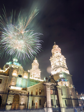 Firework Display Over the Cathedral, Morelia, Michoacan State, Mexico, North America Fotografisk tryk af Christian Kober