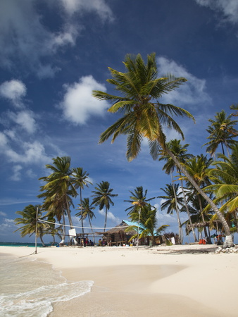 Beach and Palm Trees on Dog Island in the San Blas Islands, Panama, Central America Photographic Print by Donald Nausbaum