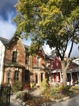 Victorian Houses in the Fall, Toronto, Ontario, Canada, North America Photographic Print by Donald Nausbaum