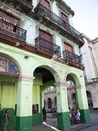 Old Buildings With Porticos, Havana, Cuba, West Indies, Central America Photographic Print
