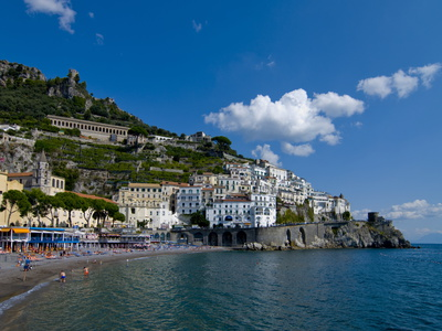 Seascape photo image of the town of Amalfi along the Amalfi Coast Italian coastline