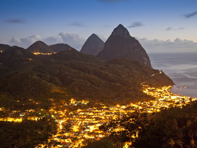 The Pitons and Soufriere at Night, St. Lucia, Windward Islands, West Indies, Caribbean Photographic Print by Donald Nausbaum