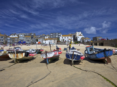 Fishing Boats in the Old Harbour, St. Ives, Cornwall, England, United Kingdom, Europe Photographic Print by Peter Barritt