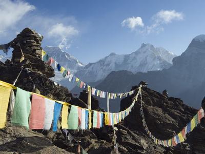 Prayer Flags, View From Gokyo Ri, 5483M, Gokyo, Sagarmatha National Park, Himalayas Photographic Print by Christian Kober