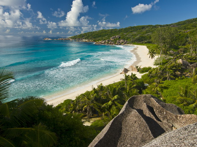 View Over the Beach of Grand Anse, La Digue, Seychelles, Indian Ocean, Africa Photographic Print