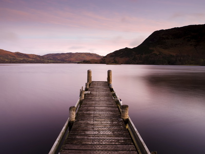 Jetty on Ullswater at Dawn, Glenridding Village, Lake District National Park, Cumbria, England, Uk Photographic Print
