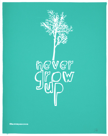 Never Grow Up (Light Blue) Serigraph