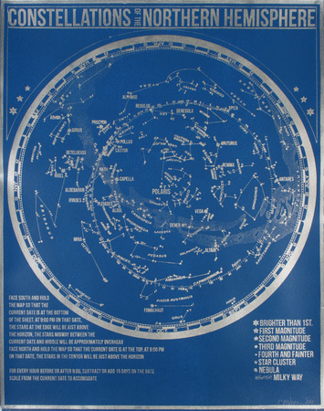 Constellations of the Northern Hemisphere (Blue) Serigrafia