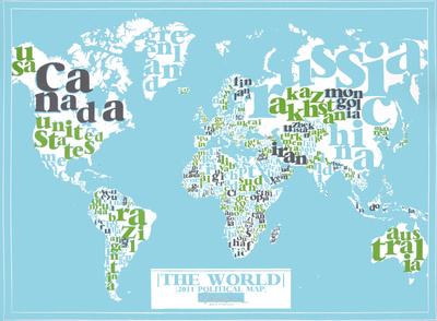 The World, 2011 Political Map (Light Blue) Serigrafie