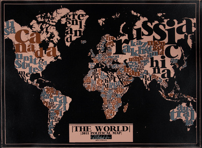 The World, 2011 Political Map (Black) Serigrafie