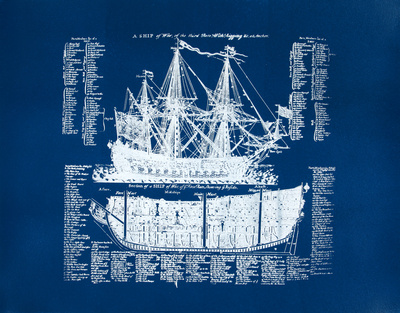 Old Ship Diagram (blue) Serigrafía