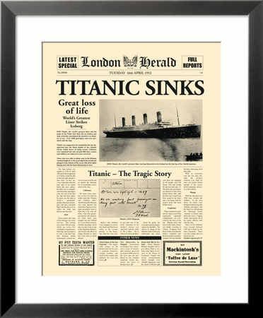 Naufrage du Titanic : article du London Herald, 1912 Estampe encadrée