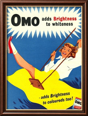 Omo, Washing Powder Products Detergent, UK, 1950 Indrammet kunsttryk