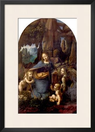 The Virgin of the Rocks (With the Infant St. John Adoring the Infant Christ) circa 1508 Framed Giclee Print by  Leonardo da Vinci