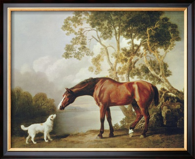 Bay Horse and White Dog Framed Giclee Print by George Stubbs