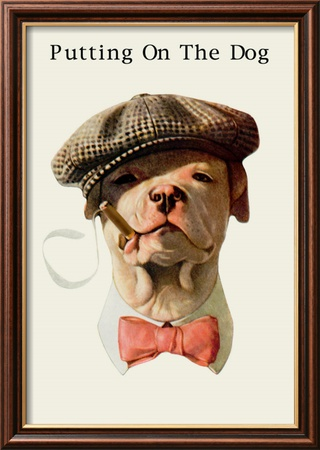 Dog in Hat and Bow Tie Smoking a Cigar Gerahmter Kunstdruck