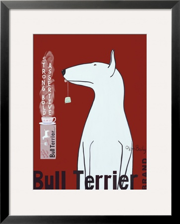 Bull Terrier Tea Framed Giclee Print by Ken Bailey