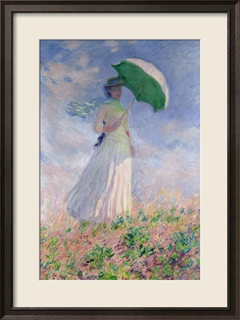 Woman with a Parasol Turned to the Right, 1886 Gerahmter Gicle-Druck