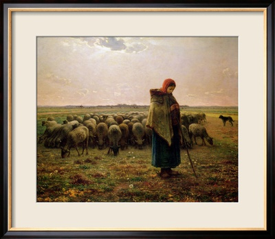Shepherdess with Her Flock, 1863 Estampe encadrée