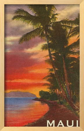 Sunset, Maui, Hawaii Framed Giclee Print
