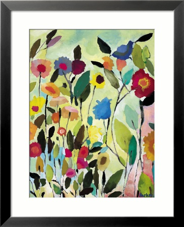 Garden with Blue Tulip Framed Giclee Print