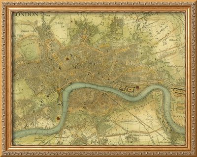Map of London Framed Giclee Print by  Vision Studio