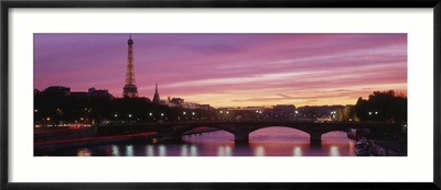 Sunset, Romantic City, Eiffel Tower, Paris, France Framed Photographic Print