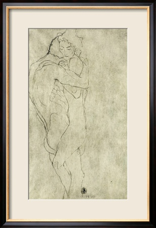 Lovers, Black Crayon (1908) Estampe encadrée
