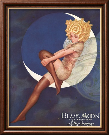 Blue Moon Silk stockings, Womens Glamour Pin-Ups Nylons Hosiery, USA, 1920 Affiche encadre