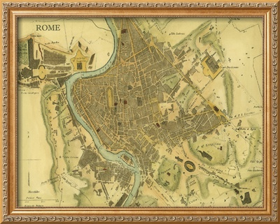 Map of Rome Framed Giclee Print by  Vision Studio